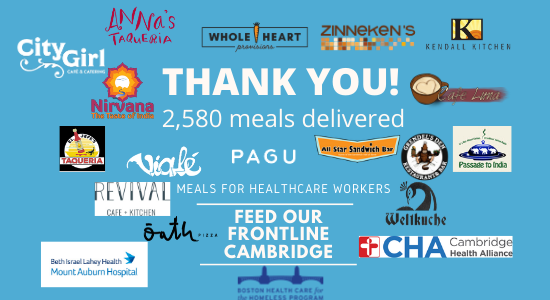 Logos of 18 local restaurants, CHA, MAH, and Boston Health Care for the Homeless
