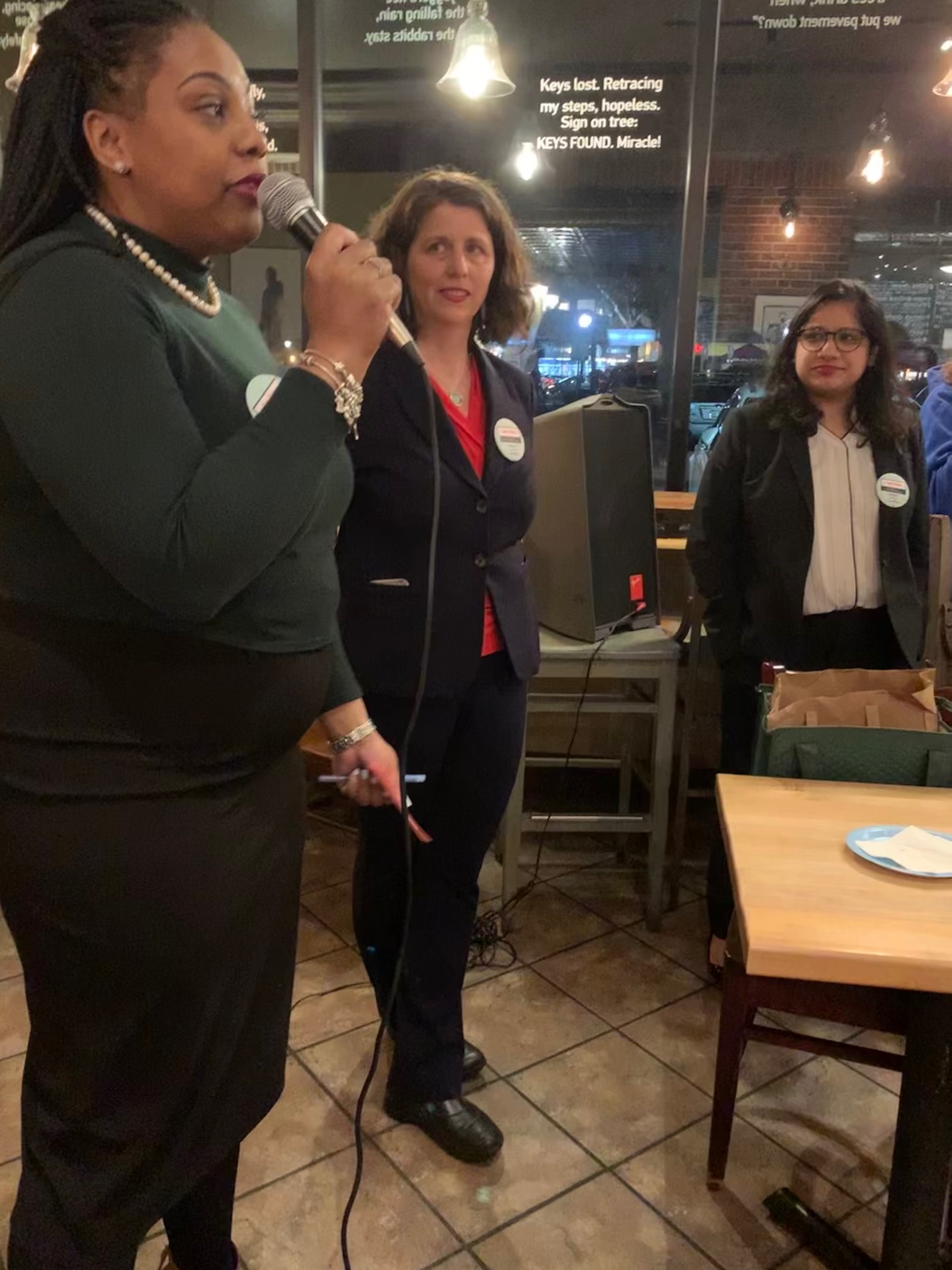 Cambridge School Committee member Ayesha Wilson (at the mic) and Mayor Sumbul Siddiqui gave moving endorsements for Jen's candidacy at her campaign kickoff March 4th