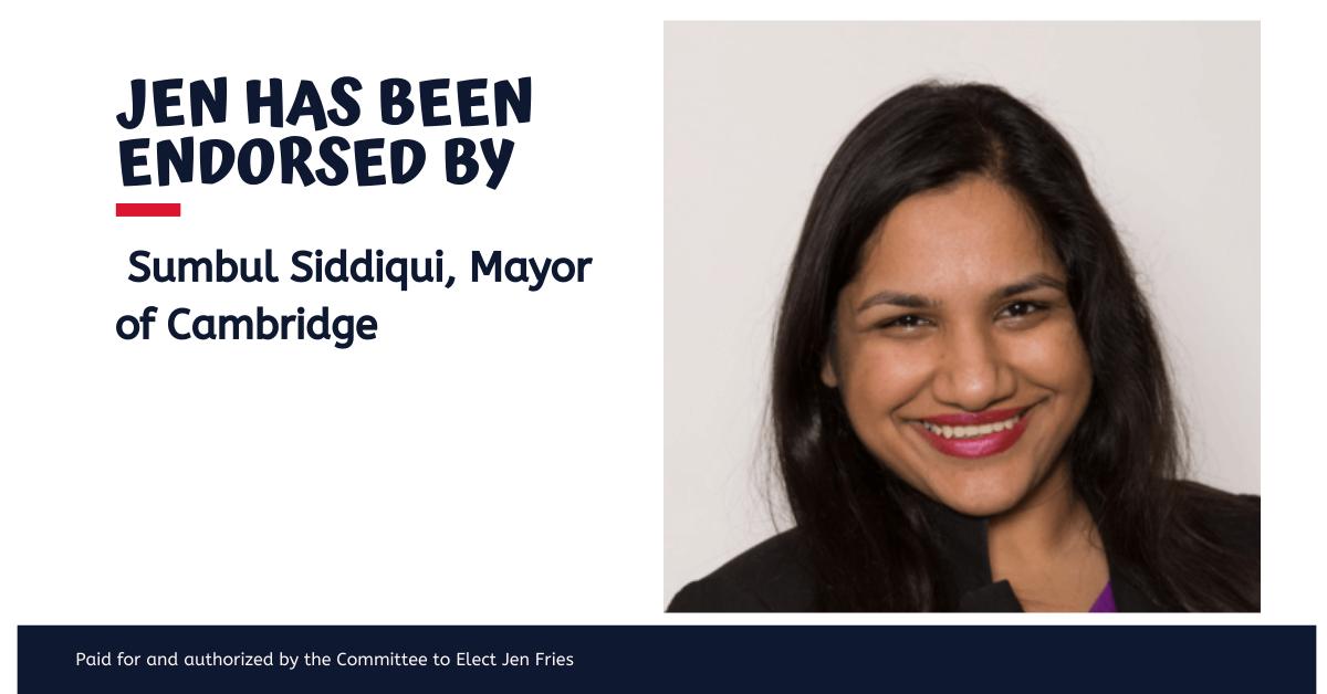 Mayor Sumbul Siddiqui endorses Jen